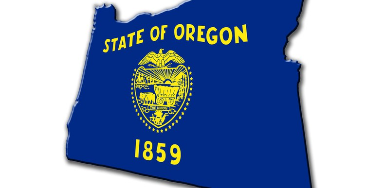 state of Oregon with crest and year founded