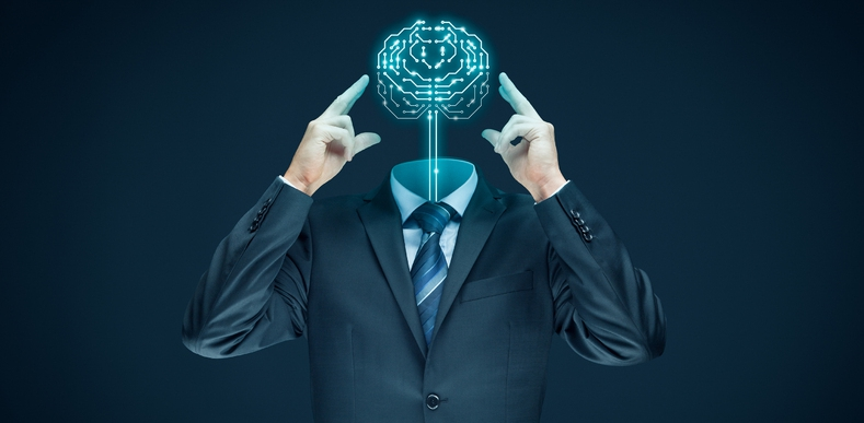 Man in a business suit with a digitally created brain for his head.