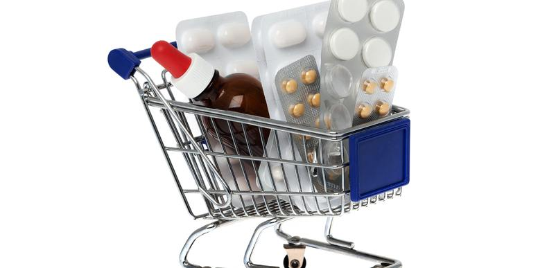 Shopping cart with pill packs.