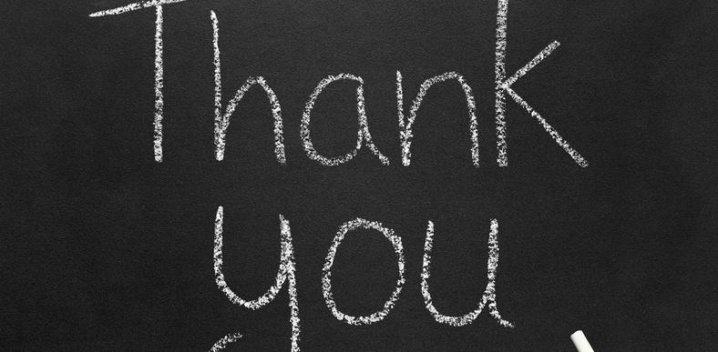 """Chalkboard saying """"Thank You"""""""
