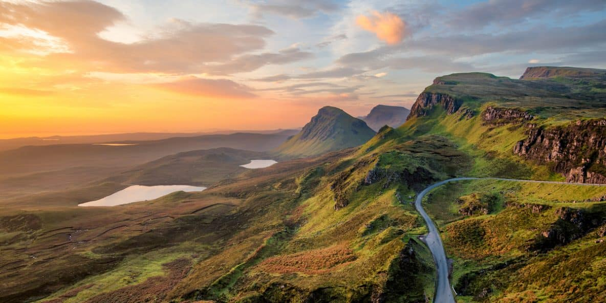 Mountain landscape during sunset in Scotland