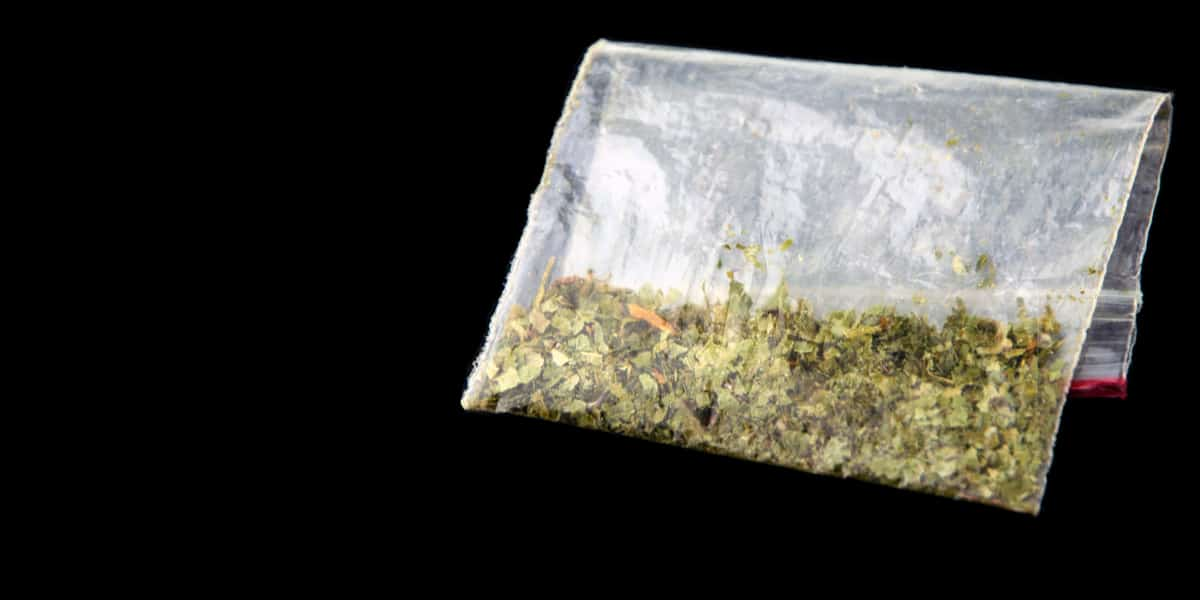 Plastic baggie filled with k2/spice