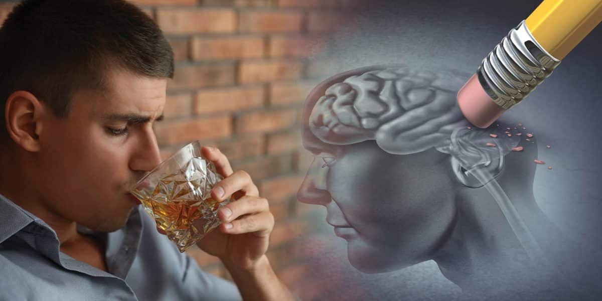 Man drinking a glass of hard liquor next to an image of the human brain